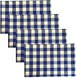 Buffalo Check Indoor/Outdoor Cotton Placemat Set - Cottage Style Gingham Check Pattern - Set of 4 Placemats - Red