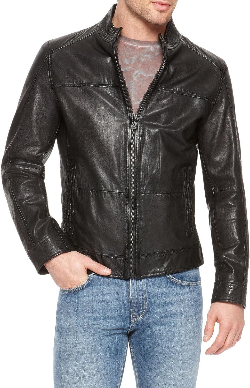 Mens Genuine Lambskin Leather Jacket Slim Fit Biker Motorcycle Jacket T275