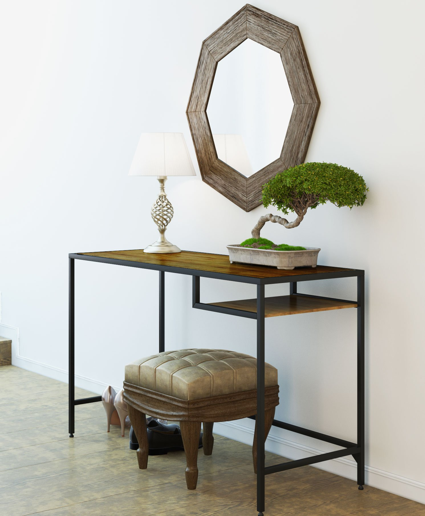 Industrial Vintage Design Space Saver Entryway Hallway Console Table Desk with Lower Shelf Storage, Wood Top and Metal Black Metal Frame - Versatile console entryway table with warm rustic style.Includes parts, tools and instructions for easy assembly.Topped with plants, books or picture frames, our console table gives your space a rustic, industrial feel with its bamboo wood surfaces and black metal frame..It's ideal in the entryway or behind a sofa, and also makes a chic media stand with sleek ,straight industrial black metal table frame..Modern, classic and industrial inspired style the perfect wood metal console instantly transforms your living, family room or entryway an accent décor..Lower shelf gives you some space to keep your mails, keys, magazines and small household items. - living-room-furniture, living-room, console-tables - 811RNx2sK6L -