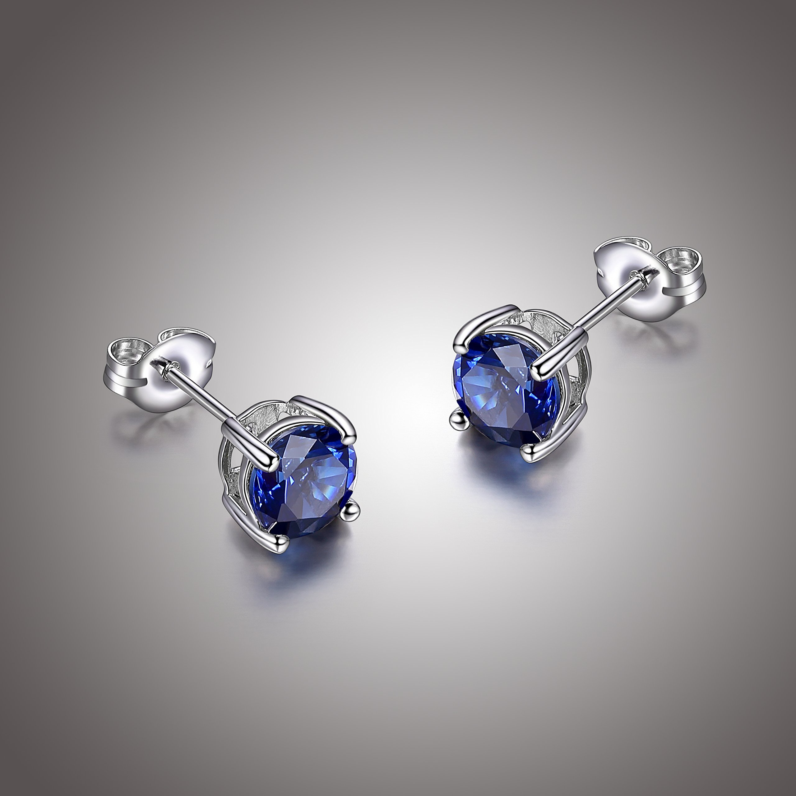 Amazon Essentials Sterling Silver Round Created Blue Sapphire Birthstone Stud Earrings (September)