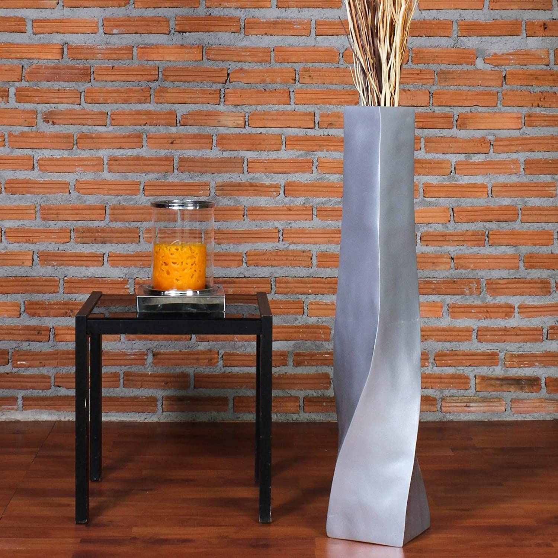 Leewadee Grand Vase A Poser Au Sol pour Branches D/écoratives Design Vase Haut 90 cm Argentin Bois de Mangue