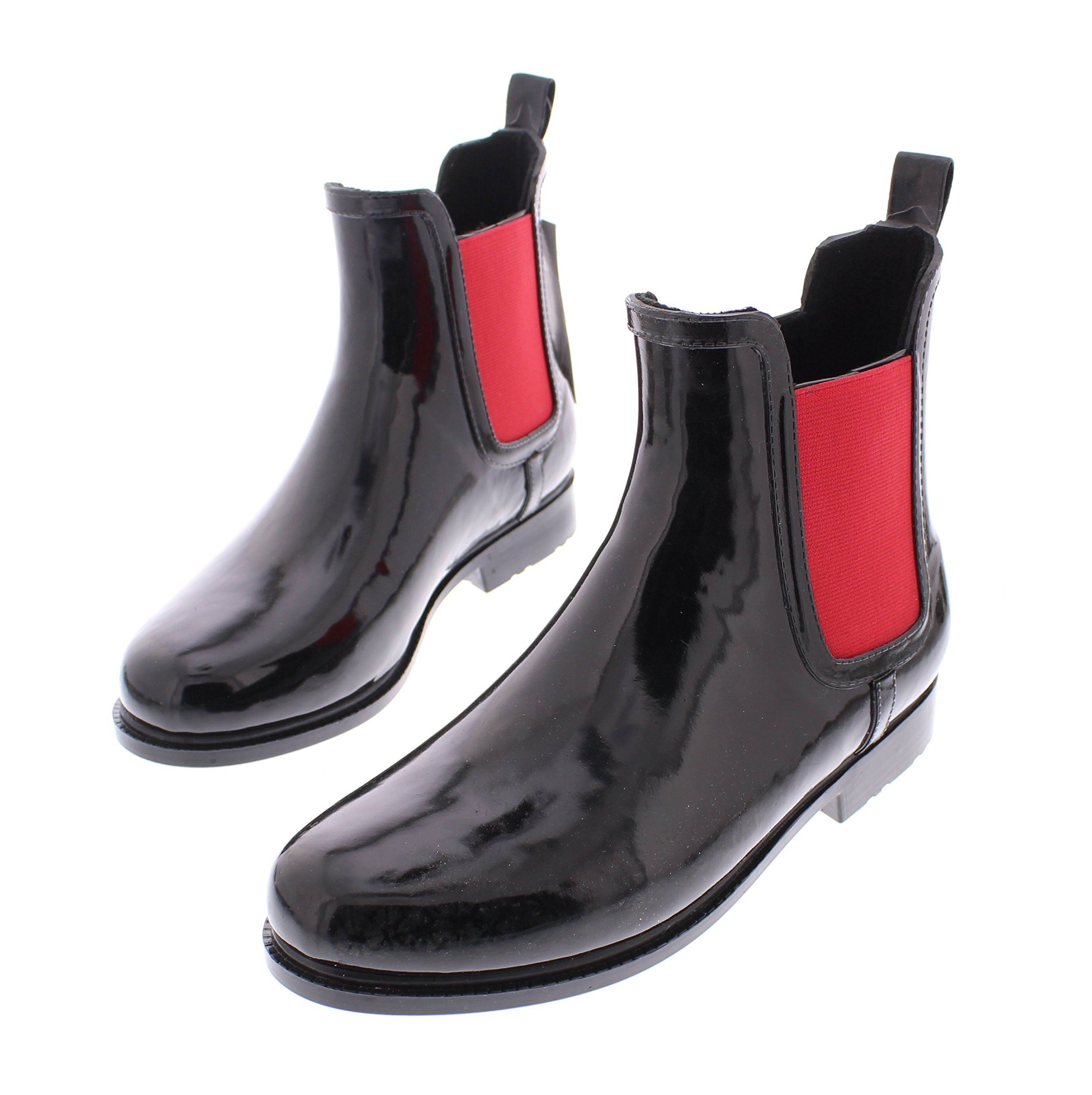 Marilyn Monroe Women's Ankle Length Short Chelsea Rainboot Shoes, Waterproof Jelly Pull On Welly Boots Black Red 10 M