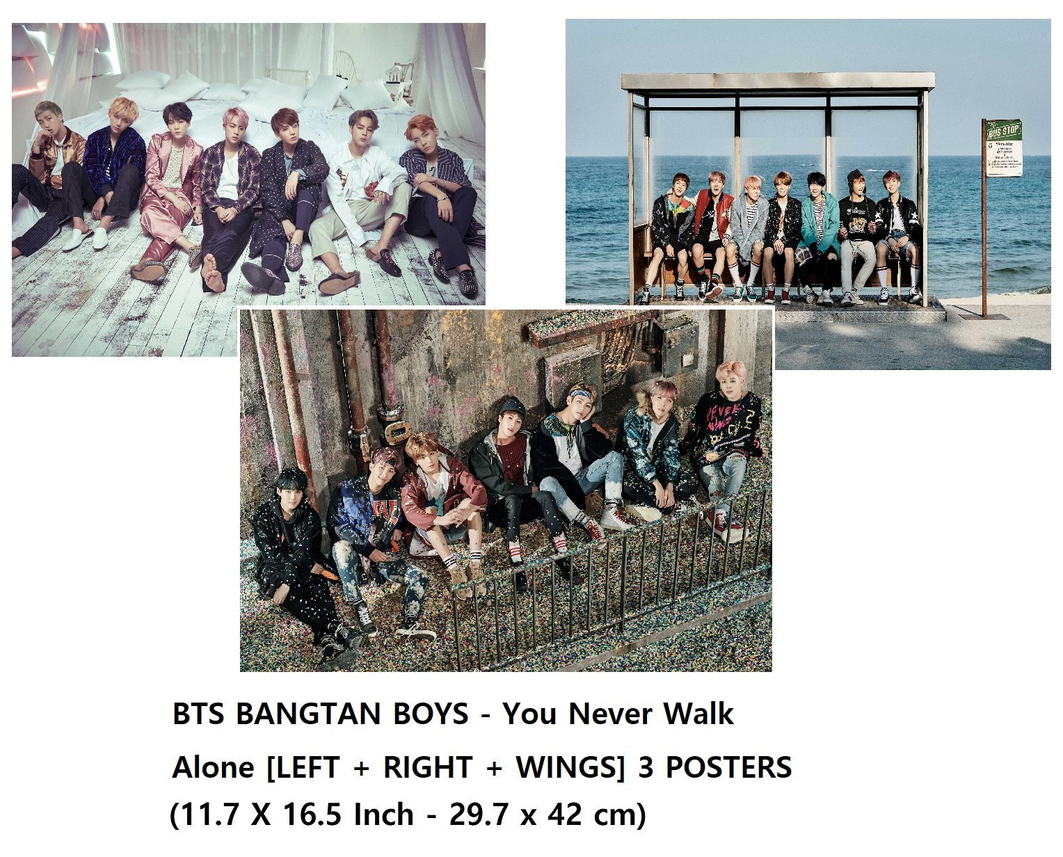 BTS BANGTAN BOYS - You Never Walk Alone [LEFT   RIGHT   WINGS] 3 POSTERS (30 X 42 cm)