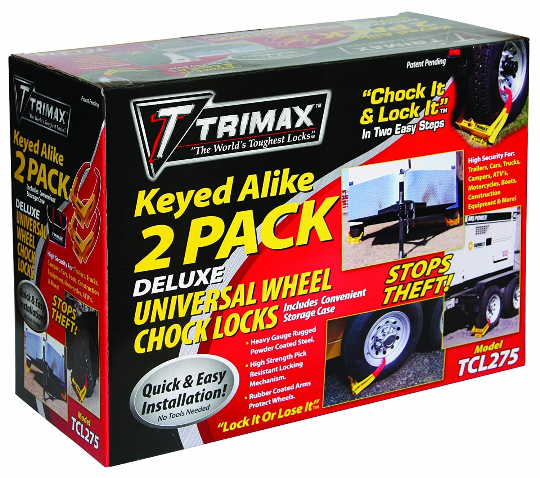 Trimax TCL275 Medium Deluxe Keyed Alike Wheel Chock Lock, (Pack of 2)
