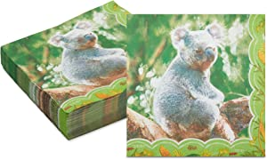 Koala Paper Napkins for Kid's Outback Safari Birthday Party Supplies (6.5 In, 150 Pack)