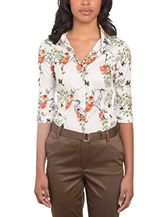 de6f3572 HAWES & CURTIS Womens White & Green Floral Fitted 3 Quarter Sleeve Shirt - Low  Collar