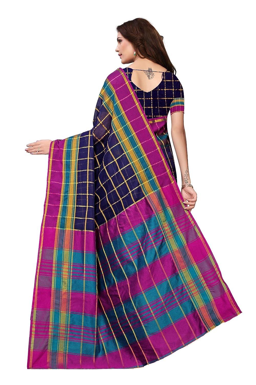 Indian Womens Cotton Silk Style Sari with Blouse Piece CHOKDA Checks