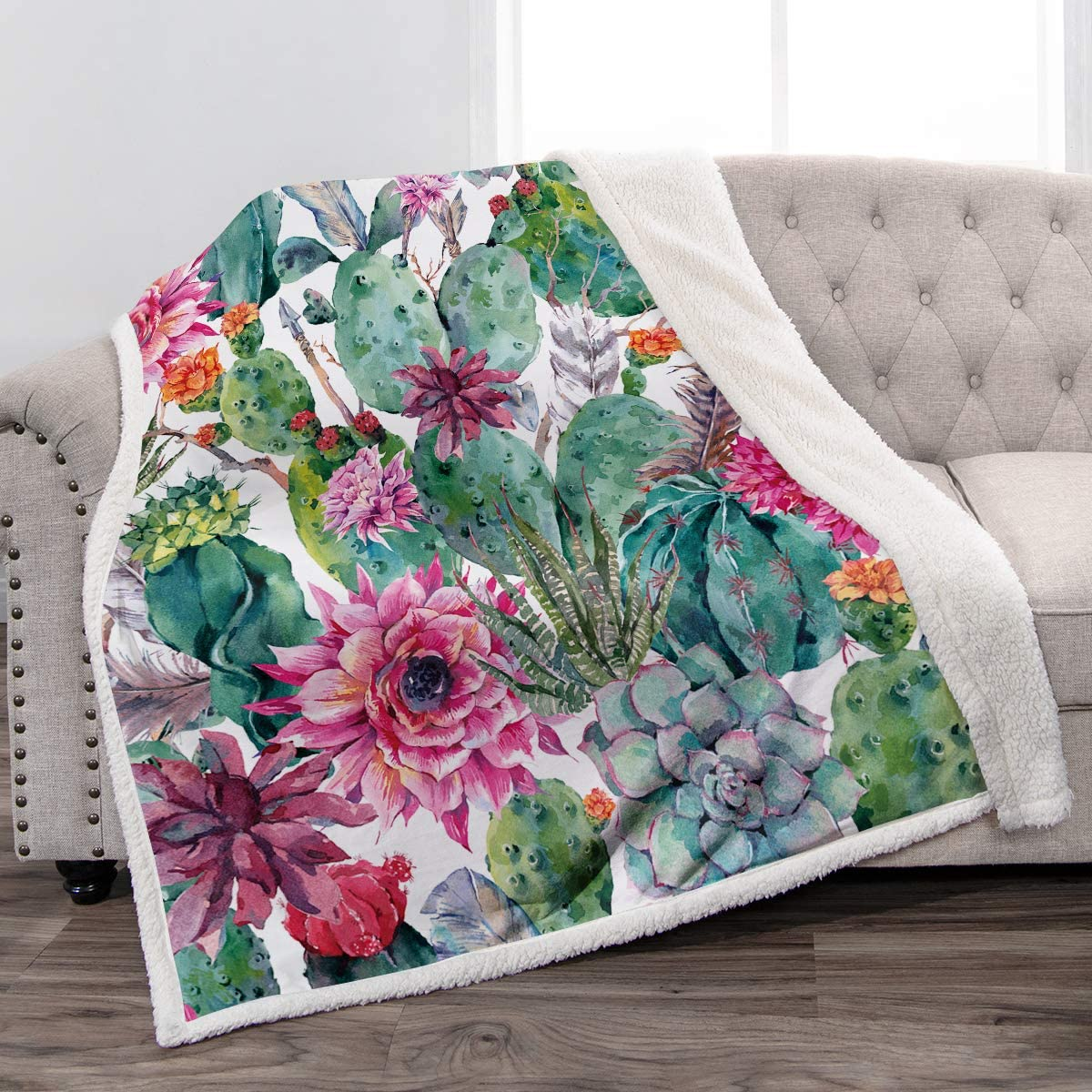 """Jekeno Cactus Flower Sherpa Blanket Smooth Soft Print Throw Blanket for Sofa Chair Bed Office 50""""x60"""""""