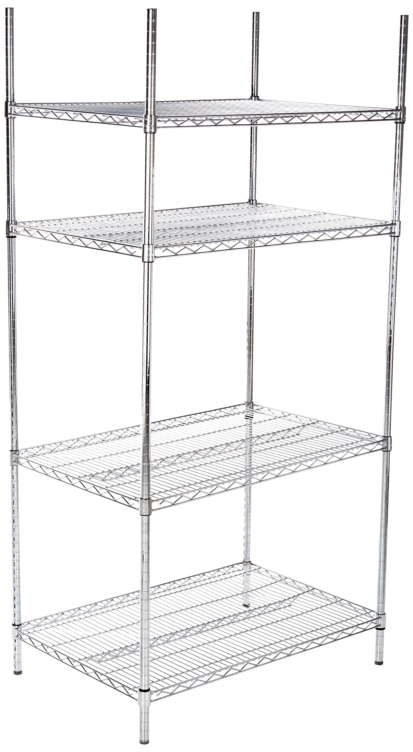 Winco VCS-2436 4-Tier Wire Shelving Set, Chrome Plated, 24'' X 36'' X 72''