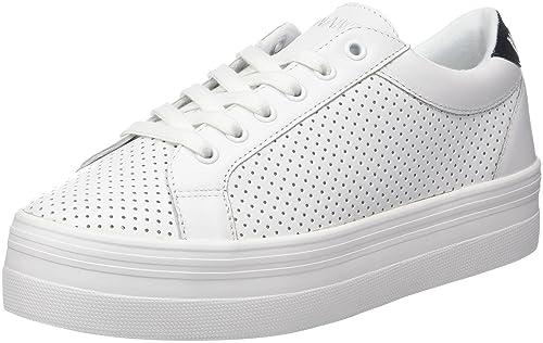 No Name ENACP60401 - Zapatillas de Deporte de Piel sintética Mujer, Blanco (Blanco (White 01)), 41 EU: Amazon.es: Zapatos y complementos