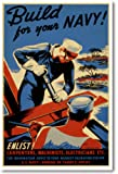 Build for Your Navy! - Vintage WWII Reprint Poster