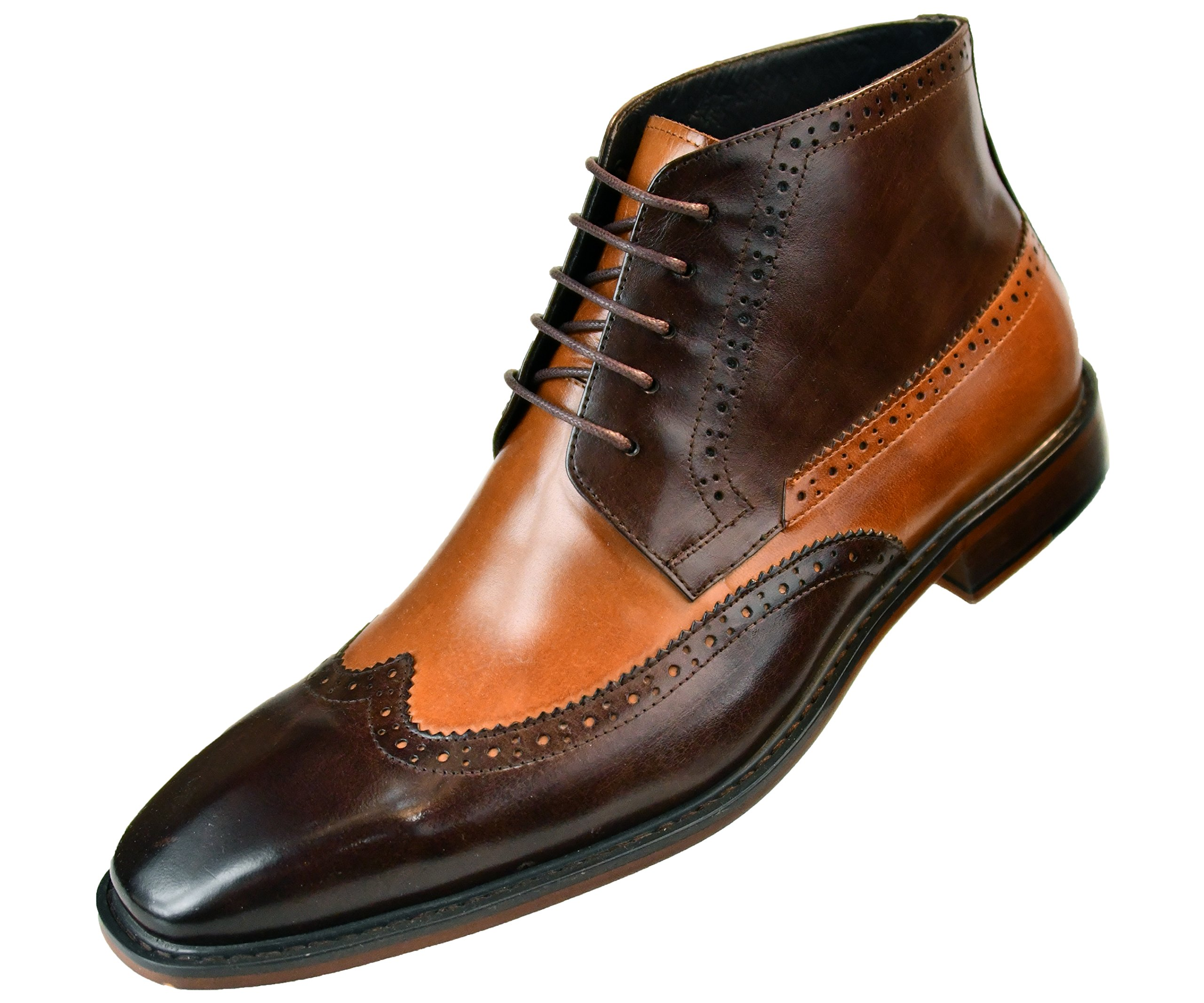 Asher Green Mens Two Tone Genuine Calf Leather Wingtip Spectator Oxford Dress Shoe, Low-Top High-Top