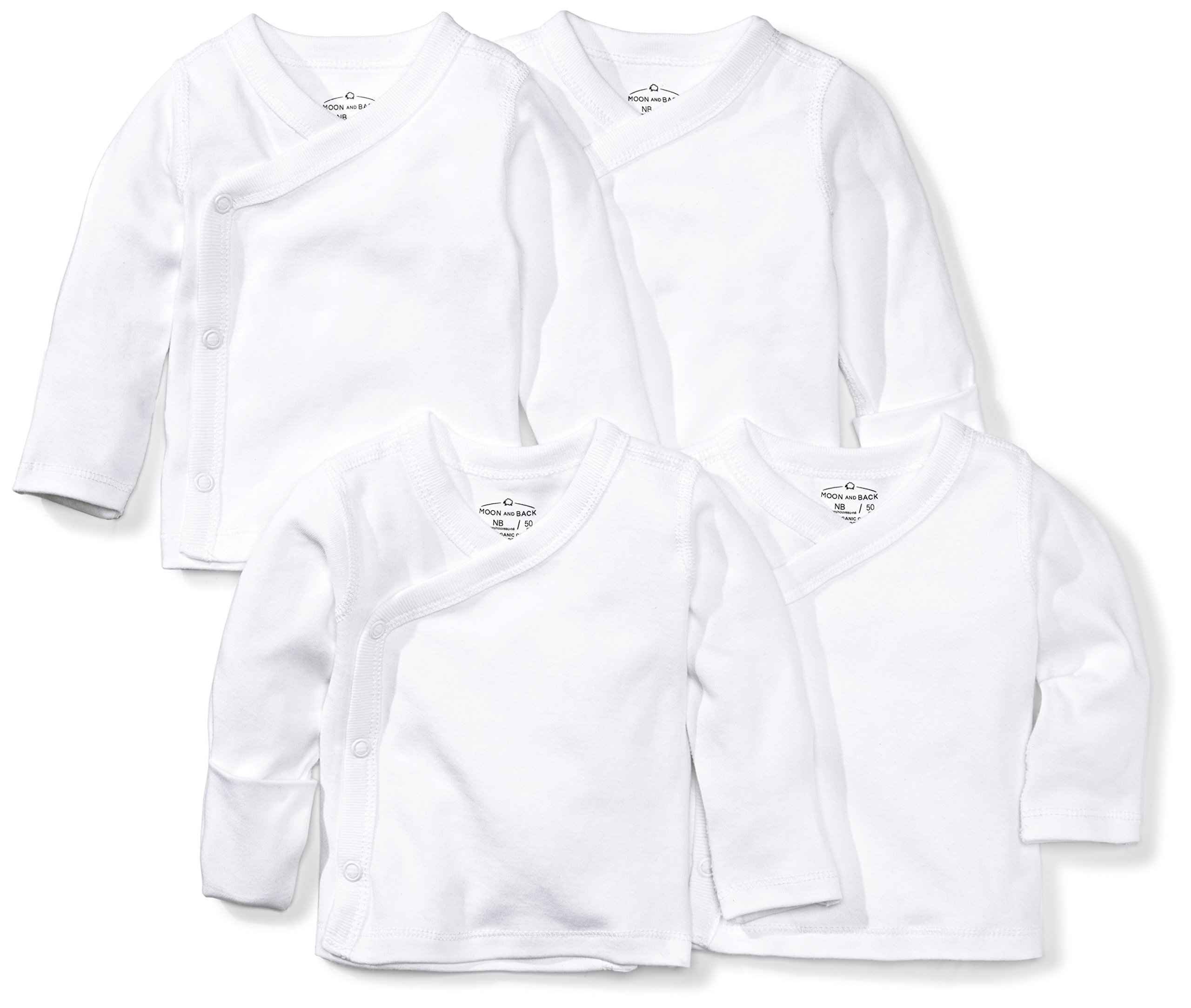 Moon and Back Baby Set of 4 Organic Long-Sleeve Side-Snap Shirts, White Cloud, Newborn by Moon and Back