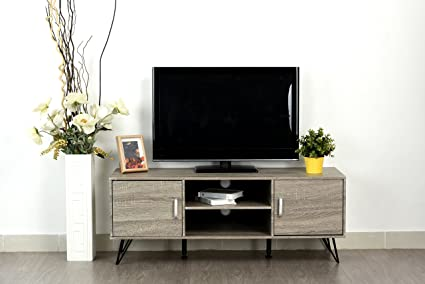 the latest 80c5d fe633 Weathered Grey Oak Finish TV Entertainment Center Console Cabinet Stand  with Two Doors and Shelves