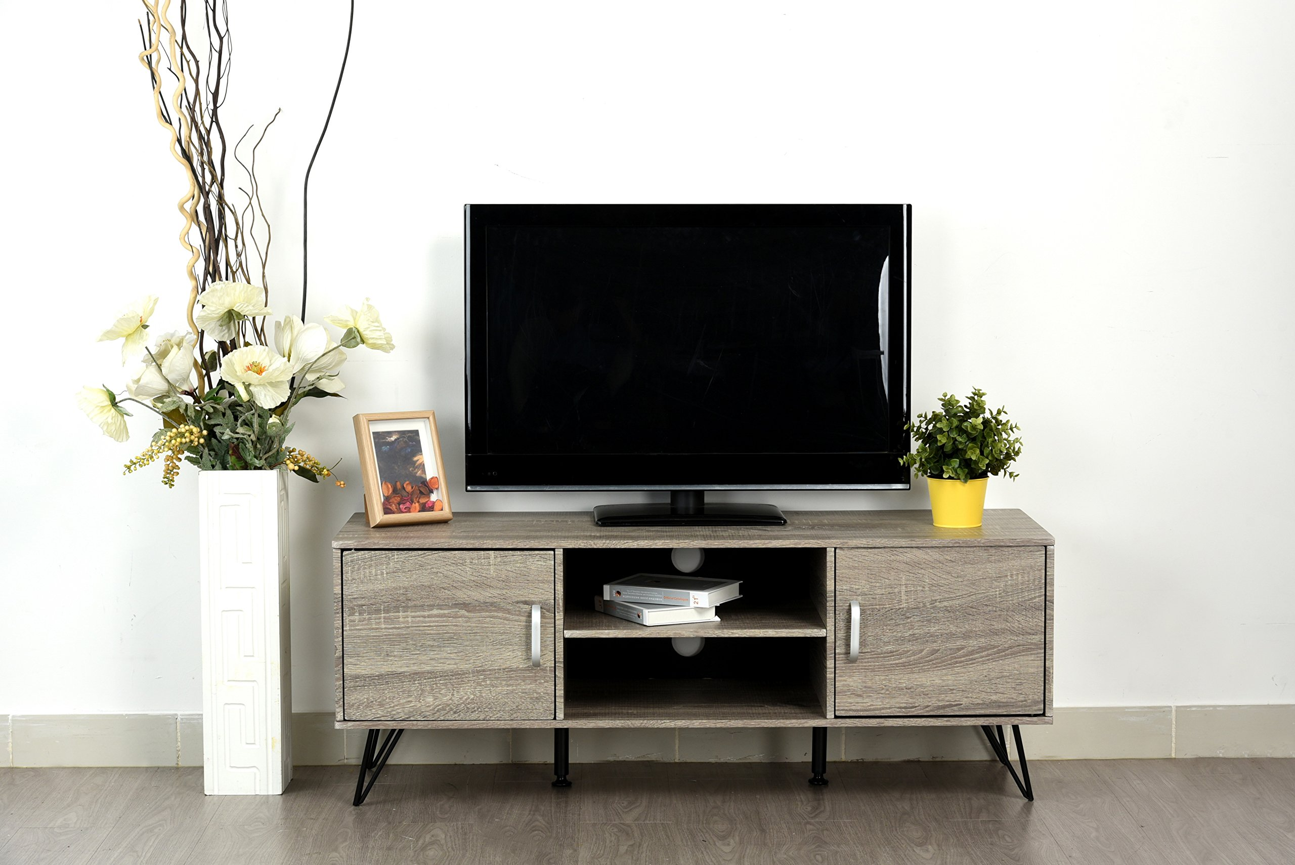 Weathered Grey Oak Finish TV Entertainment Center Console Cabinet Stand with Two Doors and Shelves by eHomeProducts