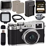 Fujifilm X100F Digital Camera (Silver) 16534584 + NP-W126 Lithium Ion Battery + External Rapid Charger + Sony 128GB SDXC Card + Micro HDMI Cable + Memory Card Wallet + Card Reader + LED Light Bundle