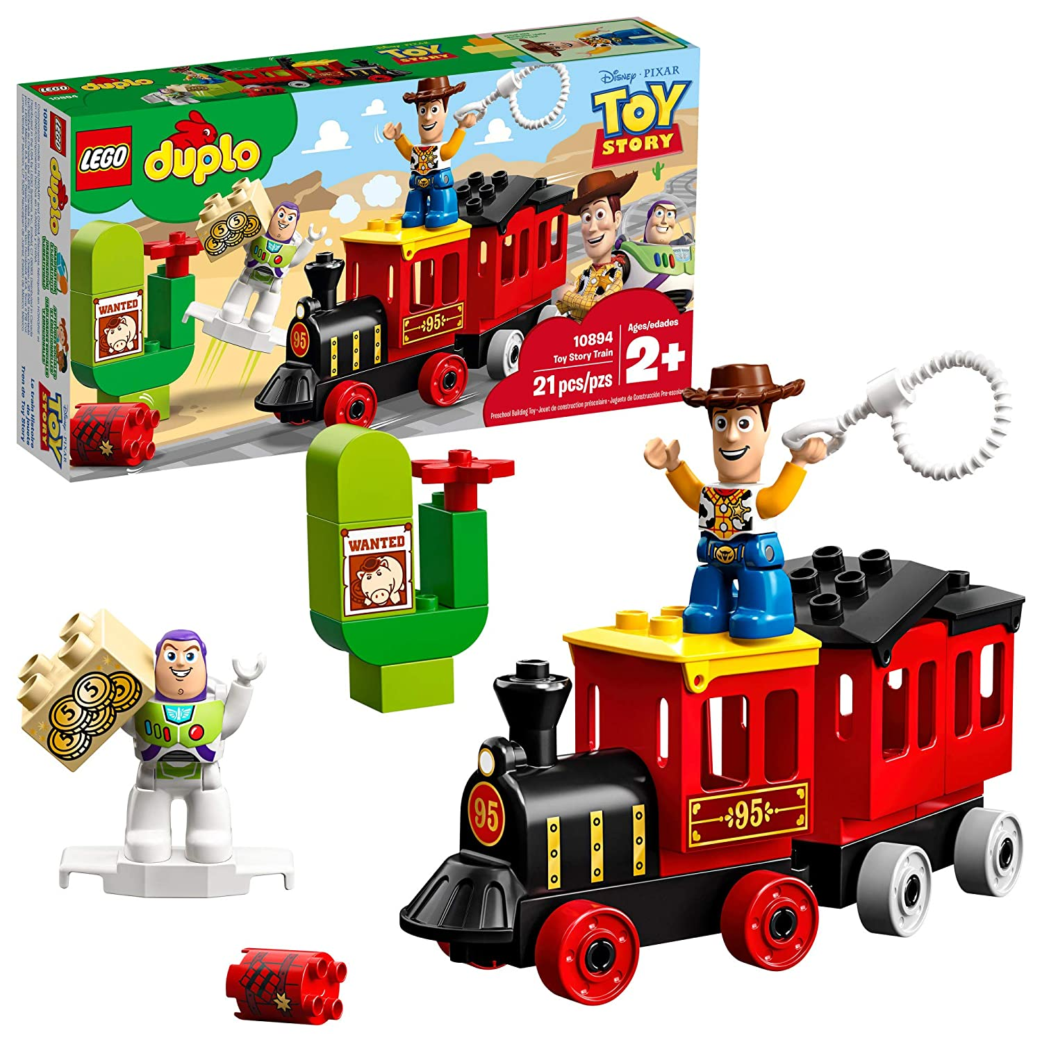 LEGO DUPLO Disney Pixar Toy Story Train 10894 Perfect for Preschoolers, Toddler Train Set includes Toy Story Character favorites Buzz Lightyear and Woody(21 Pieces)