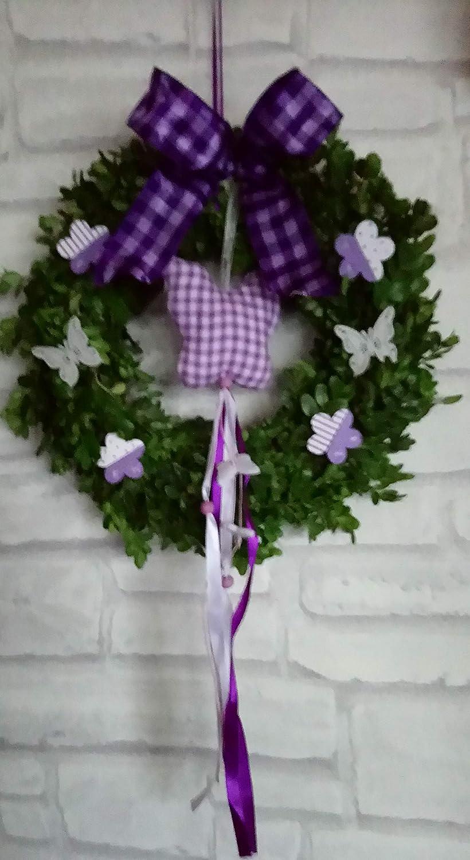 Vallentins, T/ürkranz Buchsbaum-mit Textilschmetterling in lila z.b /& Muttertag