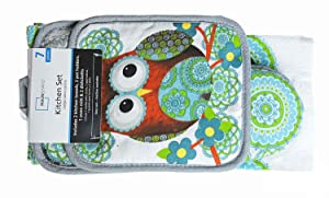 Mainstays 7 Piece Kitchen Set, Owl