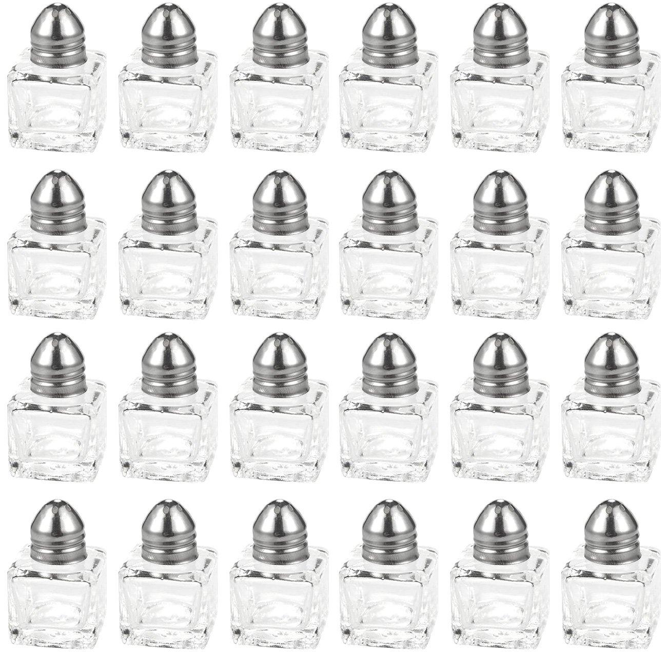 Salt and Pepper Shakers Set - 24-Piece Set of Salt Pepper Shakers, Glass Kitchenware, Mini Salt and Pepper Holders, Transparent, Holds 0.5 Oz Juvale