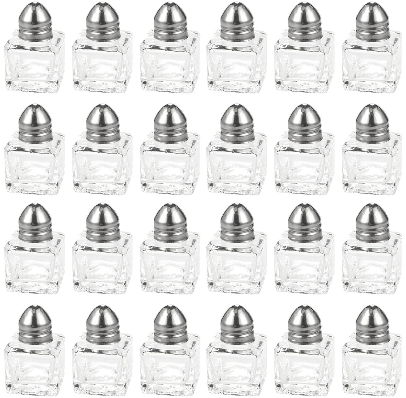 Salt and Pepper Shakers Set - 24-Piece Set of Salt Pepper Shakers, Glass Kitchenware, Mini Salt and Pepper Holders, Transparent, Holds 0.5 Oz by Juvale (Image #1)