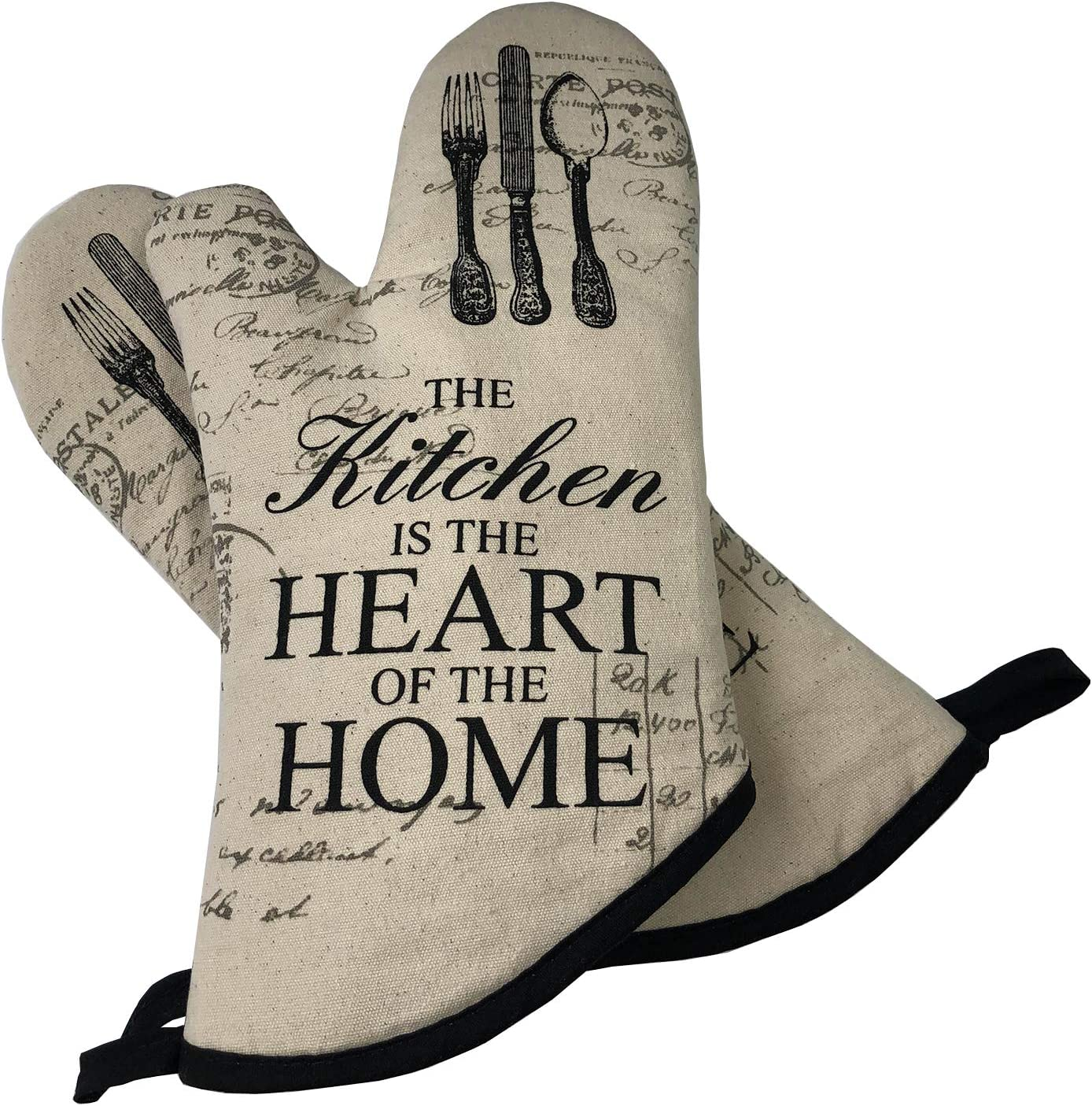 AIYUE Oven Mitts Thick Cotton Kitchen Oven mitt | Funny Cat Oven Gloves with Long Sleeves | Heat Resistant to 482 °F | Machine Washable | Suitable for Cooking Baking BBQ
