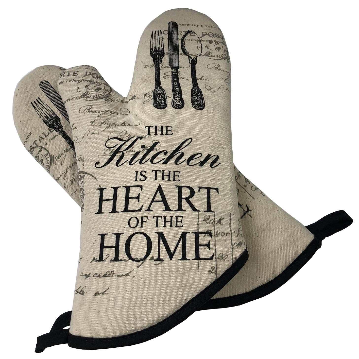 GREVY Cotton Oven Mitts 13 inches Long Baking Gloves Set of 2