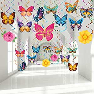 30 Pieces Butterfly Hanging Swirl Decorations, Colorful Summer Spring Butterfly Party Foil Ceiling Streamers for Birthday Wedding Party Garden Themed Tea Party Baby Shower Home Classroom Supplies