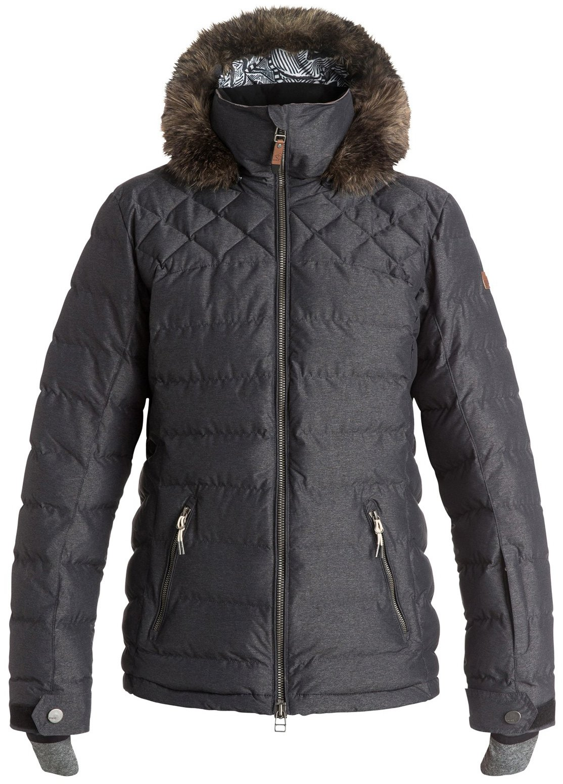 Roxy SNOW Junior's Quinn Ulquilted Tailored Fit Snow Jacket, True Black, M
