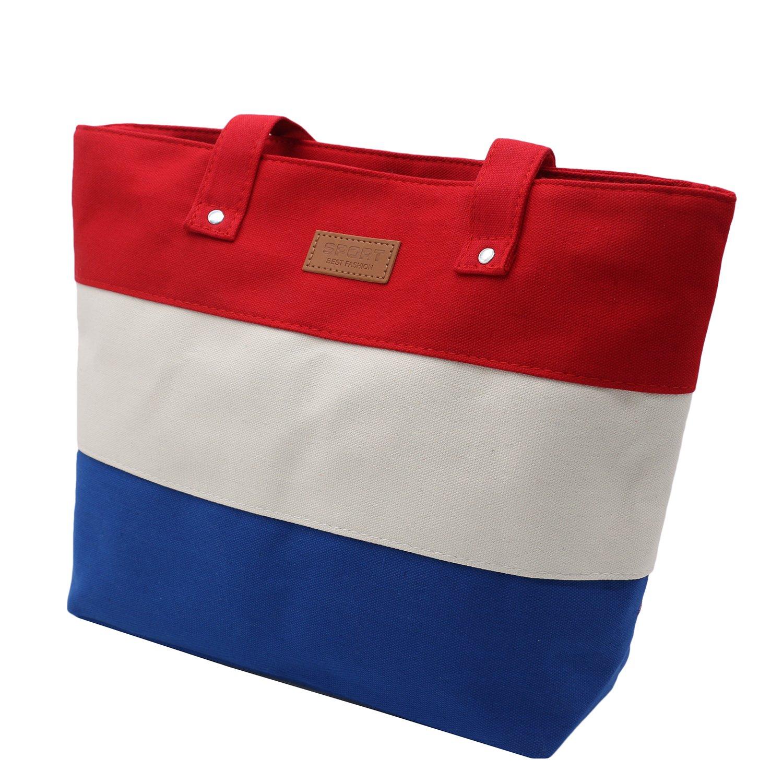 Tibes Simple Colored Stripe Canvas Women Shoulder Handbag Large Shopping Bag Beach Tote Purse 116gouwudai1-lanse