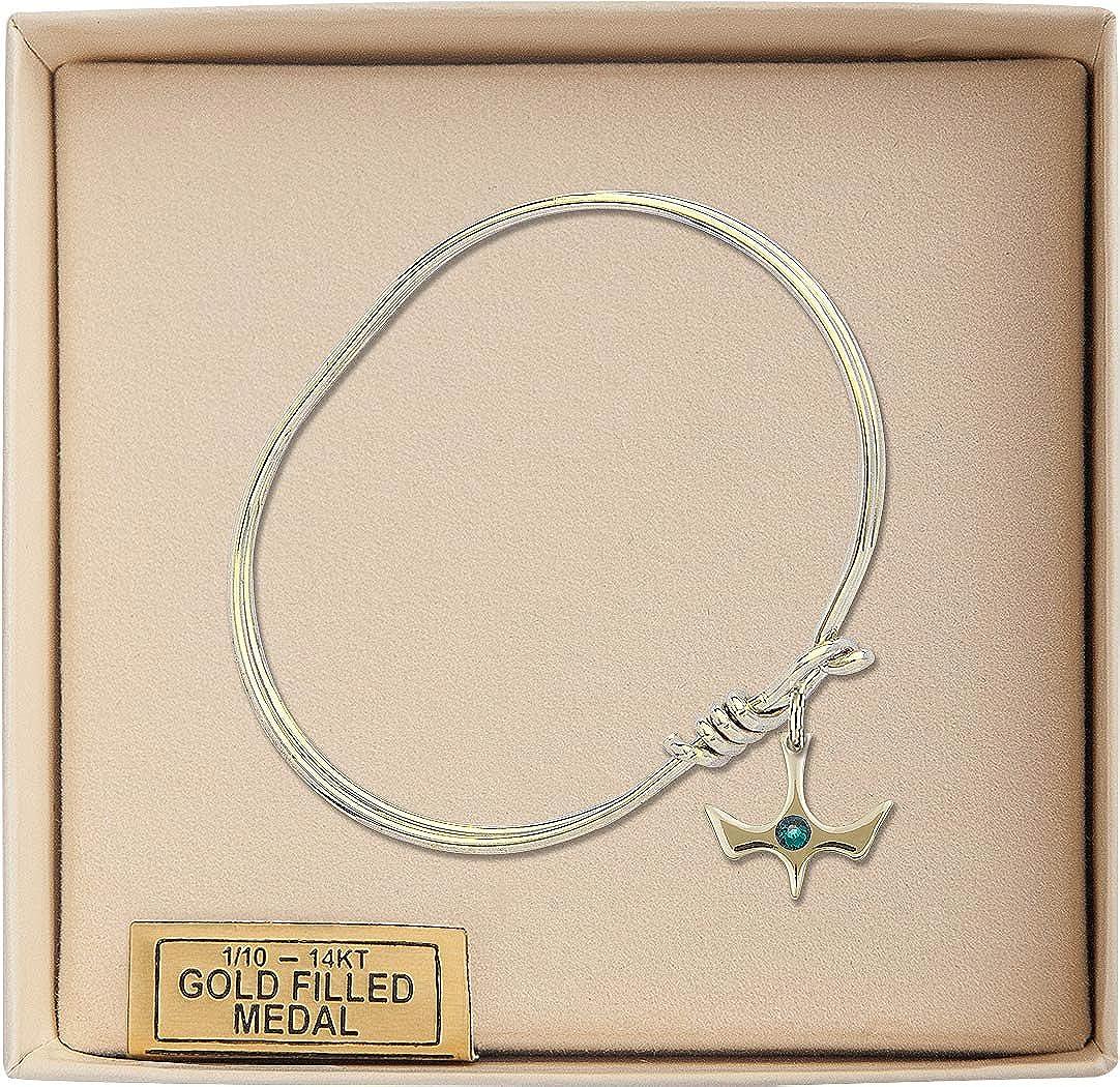 Holy Spirit Charm On A Child Sized 5 3//4 Inch Oval Eye Hook Bangle Bracelet