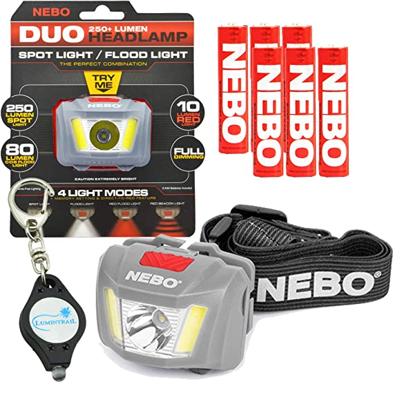 Amazon.com: Nebo 6444 Duo Linterna frontal LED 250 lúmenes ...