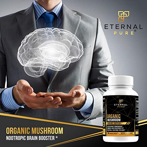 Immune Support Mushroom Supplement Complex – Lion s Mane Antioxidant Formula and Brain Booster with Nootropic Benefits by Eternal Pure 90 Vegetable Capsules
