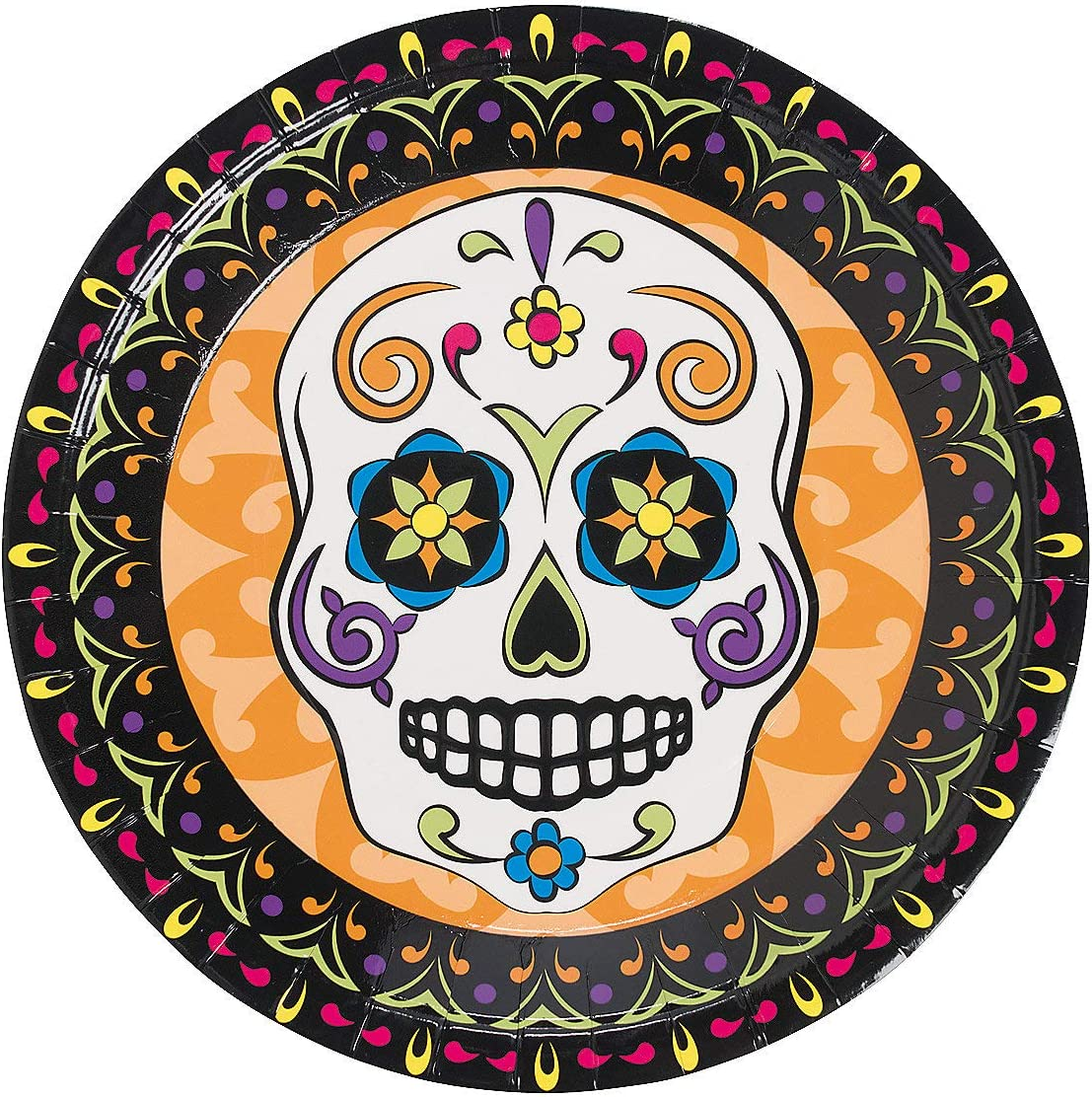 and Pin Cups Napkins Mega Dia De Los Muertos Day Of The Dead Halloween Party Pack for 18 With Plates Banner Tablecover Table Decoration Swirls