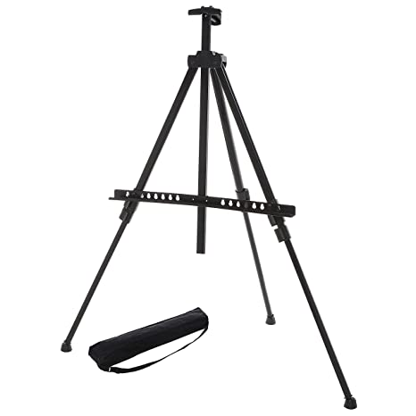 amazon com mygift adjustable black aluminum tripod easel