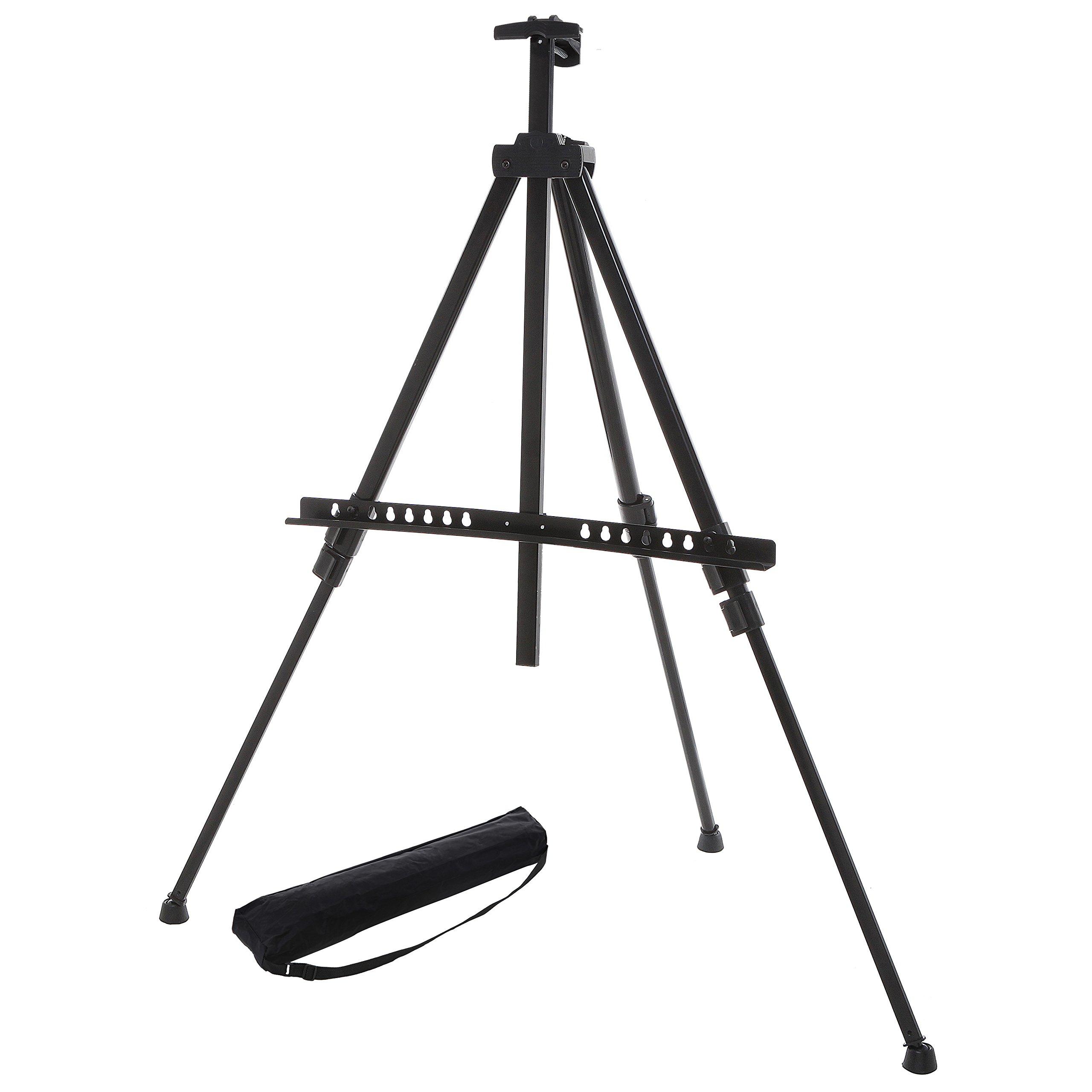 MyGift Adjustable Black Aluminum Tripod Easel/Freestanding Presentation Board & Store Sign/Art Display Stand