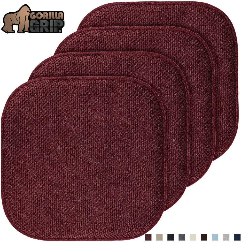 Gorilla Grip Original Premium Memory Foam Chair Cushions, 4 Pack, 16x16 Inch, Thick Comfortable Seat Cushion Pad, Large Size, Slip Resistant, Durable Soft Mat Pads for Office, Kitchen Chairs, Wine