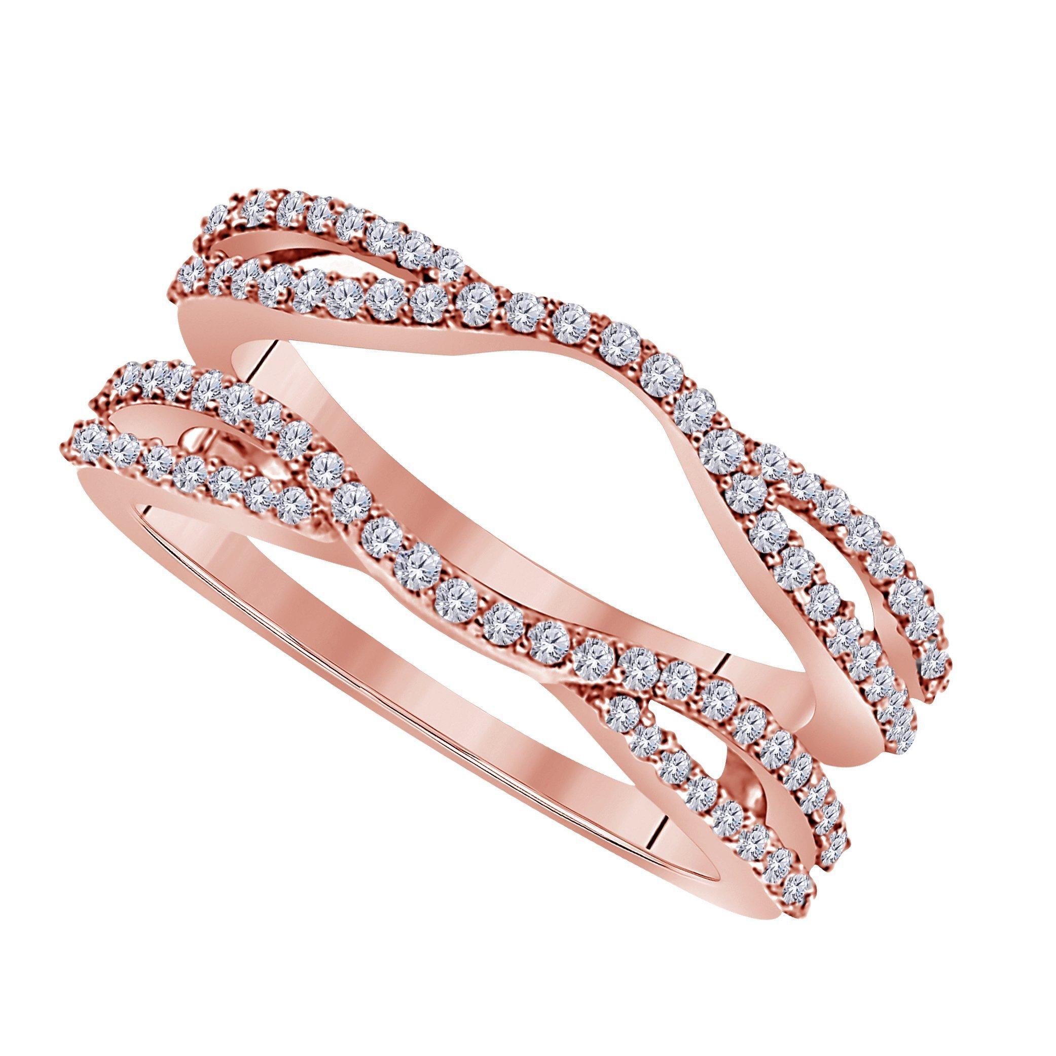 Star Retail 1/2 Ct 14K Rose Gold Finish Round Cut Cubic Zirconia Ladies Anniversary Wedding Band Enhancer Guard Double Chevron Ring