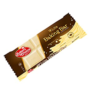 White Baking Chocolate Bar – Unsweetened Chocolate to Bake Cakes, Cookies, Brownies or Fudge – Easy Melt and Break Bar - 284 gr. – Dairy Free, Kosher - Baker's Choice