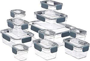 Amazon Basics Tritan 22 Piece (11 Containers and 11 Lids) Locking Food Storage Container - Clear