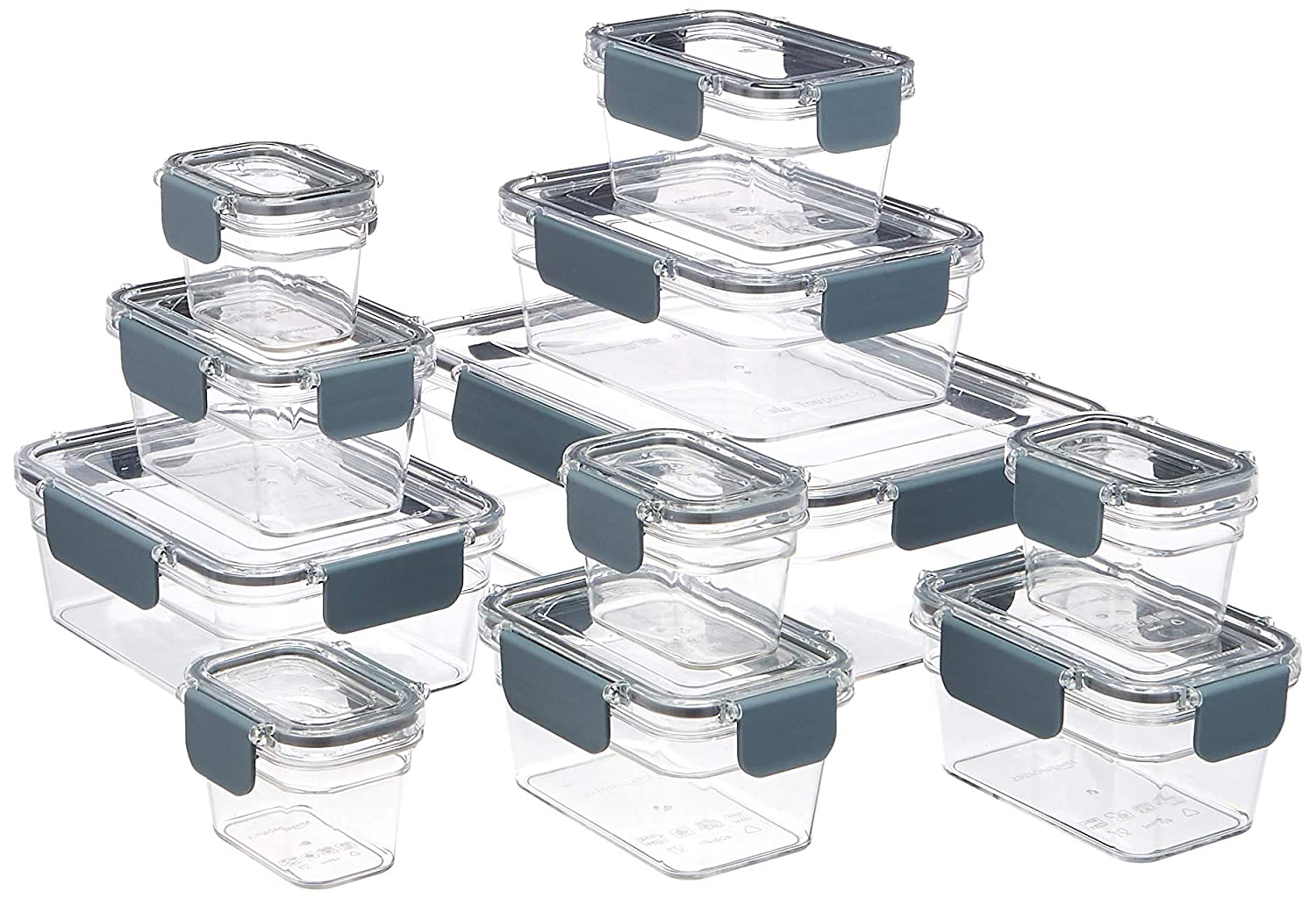 AmazonBasics Tritan 22 Piece Locking Food Storage Container - Clear