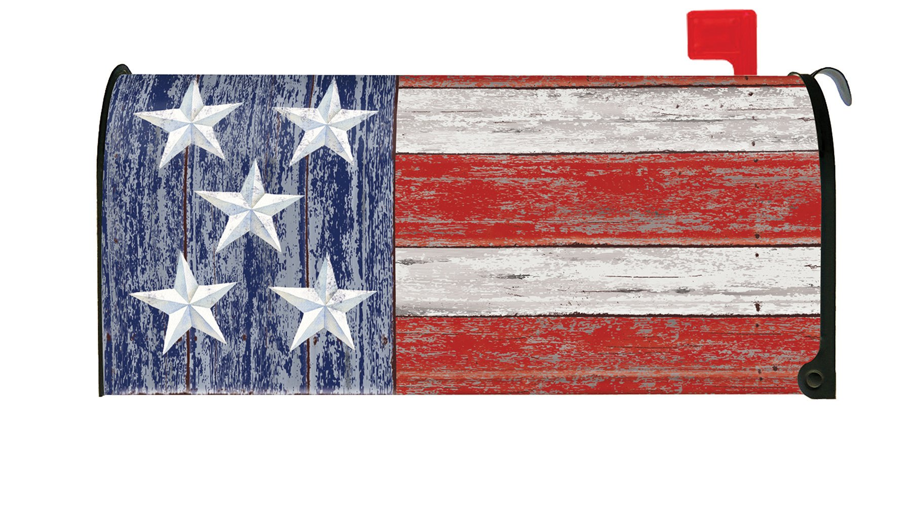 Toland Home Garden Rustic Patriotic USA Stars Stripes 4th July Magnetic Mailbox Cover