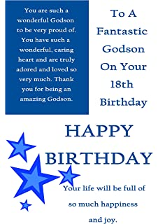 Godson 18 birthday card amazon office products godson 18th birthday with removeable laminate bookmarktalkfo Images