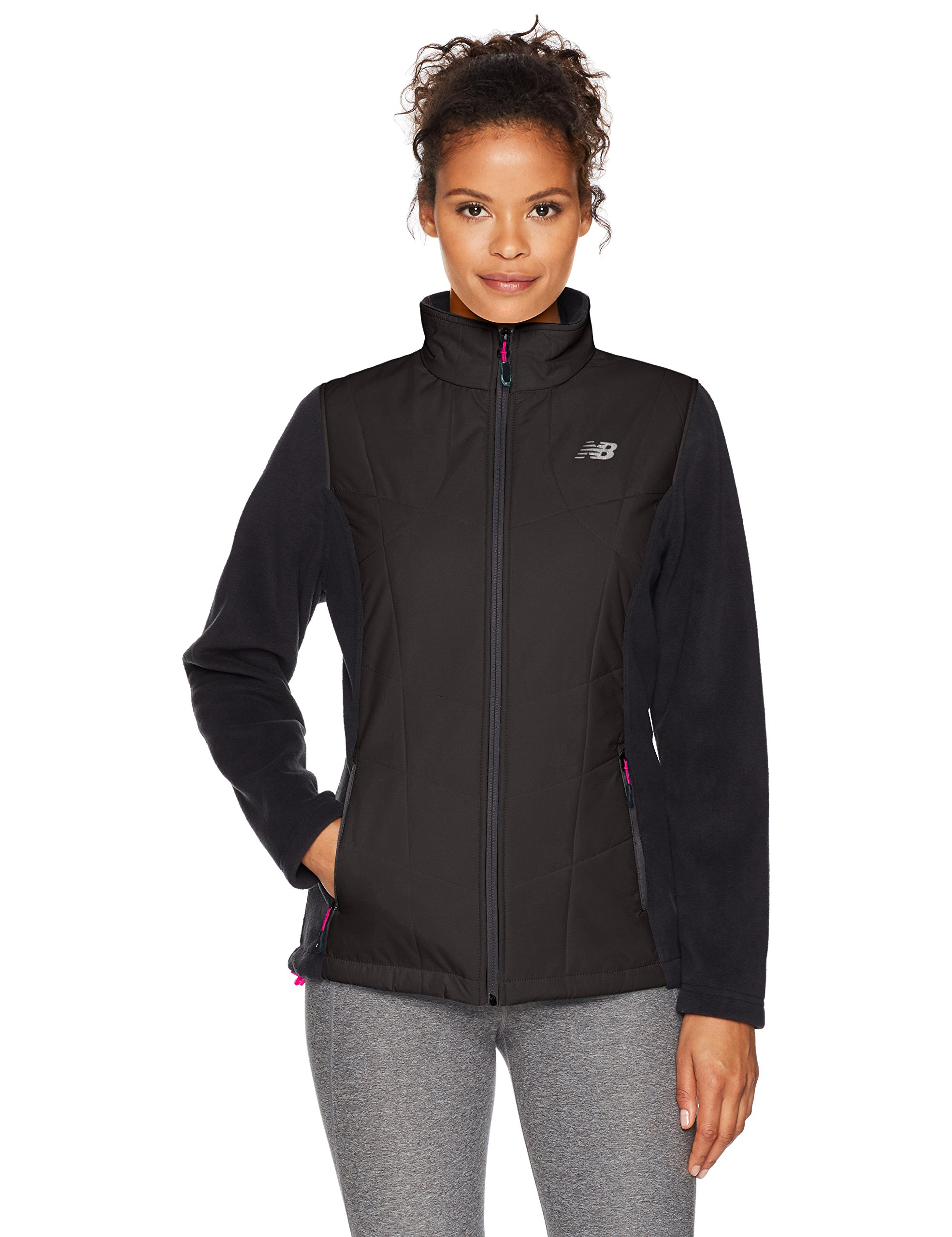 New Balance - Outdoors Fleece Mock Neck with Overlay Outerwear, Black/Black, X-Large