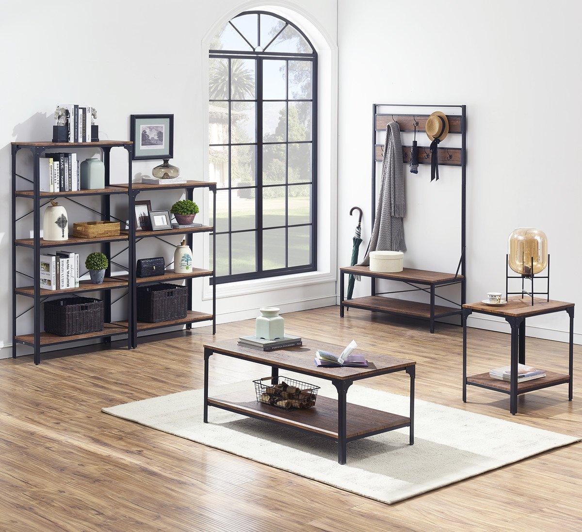 "O&K Furniture 4-Shelf Industrial Vintage Bookcase, Metal Bookshelf, 48""H x 33""W x 13""D, Barn-Wood Finish by O&K Furniture (Image #10)"