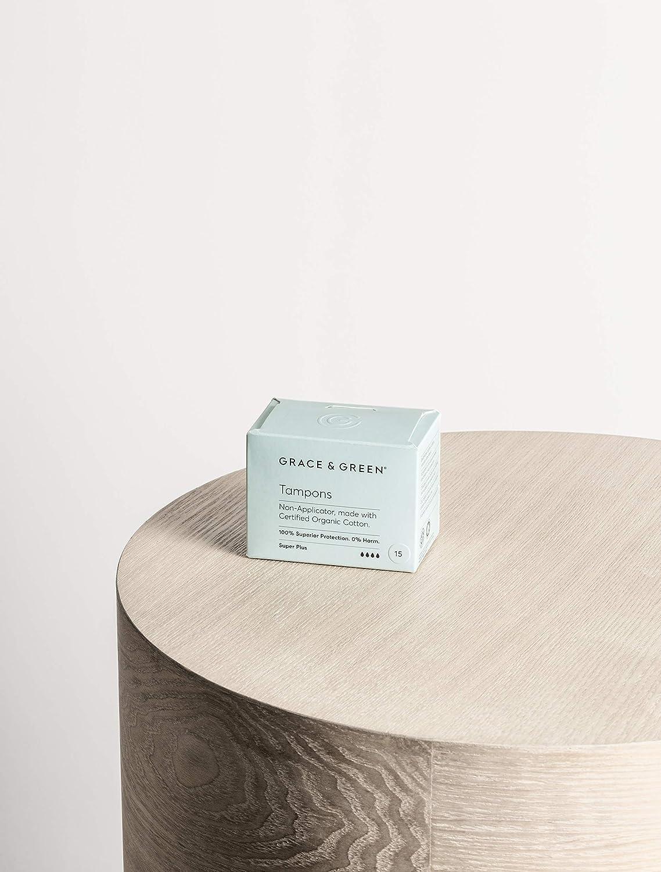 Premium 100/% Certified Organic Cotton Tampons Super Plus Non-Applicator. Grace /& Green Regular