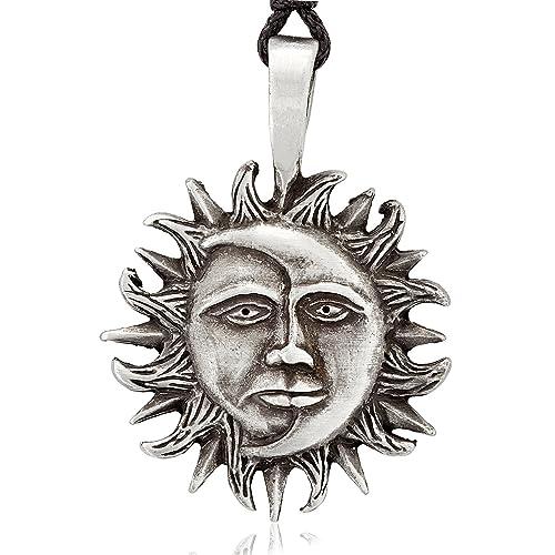 Dans Jewelers Classic Sun Moon Face Necklace Pendant Fine Pewter Jewelry