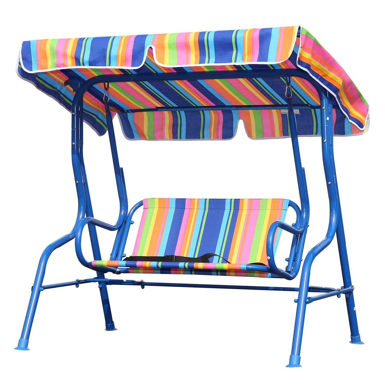 Angel Living® Bambini Dondolo da giardino in acciaio a 2 posti con tettuccio parasole115x80x110cm (Blu)