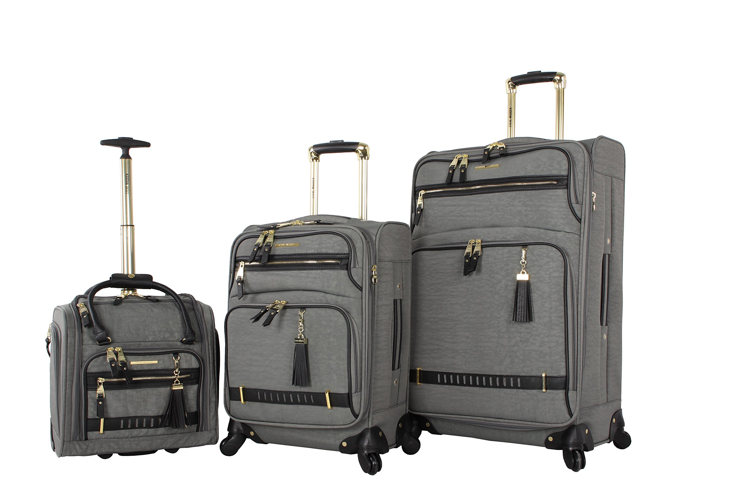 Steve Madden Luggage 3 Piece Softside Spinner Suitcase Set Collection (Peek-A-Boo Grey)