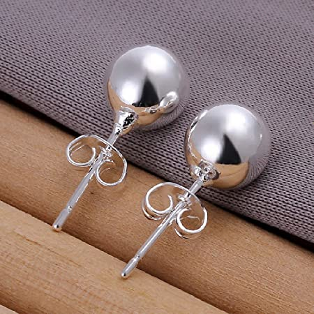 joyliveCY Nice Woman Jewelry Chic 925 Silver Stud Earings 8Mm Smooth Bead sy2nOJGTie